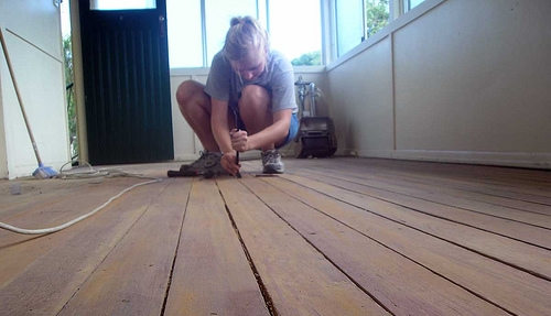hardwood flooring found under the five layers of lino