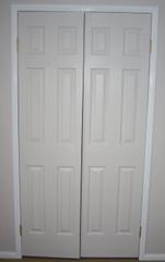 Closet Door Painted in White Shadow with Gloss White Trim