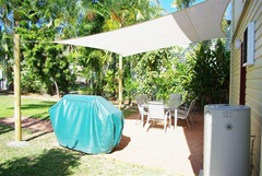 Coolaroo Shade Cloth Sail over our Outdoor Entertainment Area